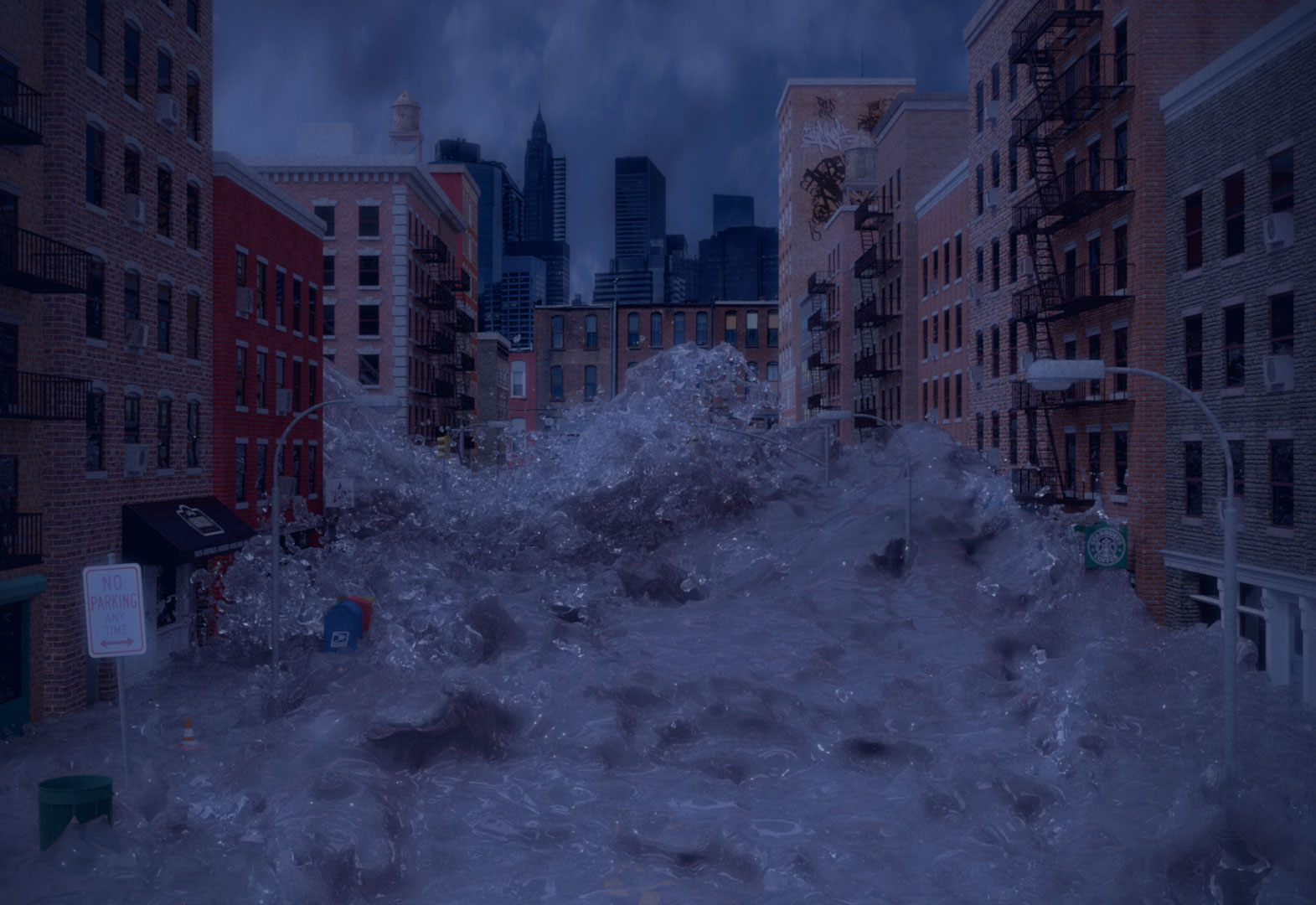 Tidal Wave Flooding New York Streets
